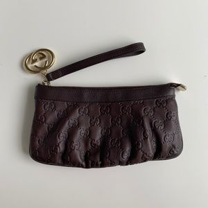 Gucci Britt Guccissima Dark Brown Leather Wristlet